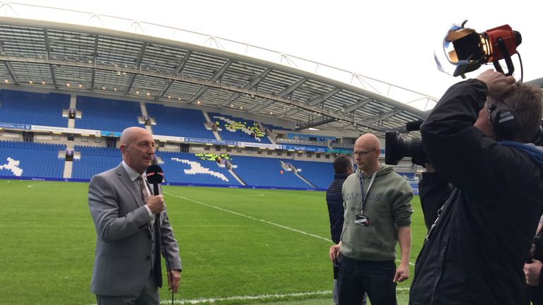 Ian Holloway prepares to chat to Sky Sports ahead of Brighton v Middlesbrough