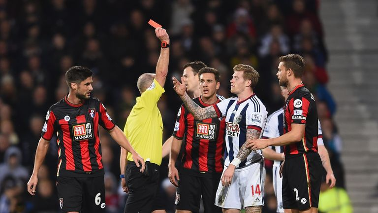West Brom wingerJames McClean is sent off against Bournemouth