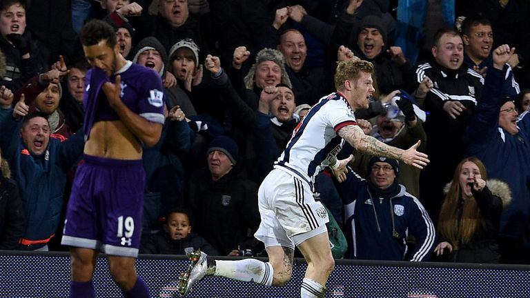 James McClean celebrates equalising for West Brom