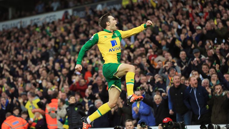Jonny Howson celebrates after putting Norwich in front