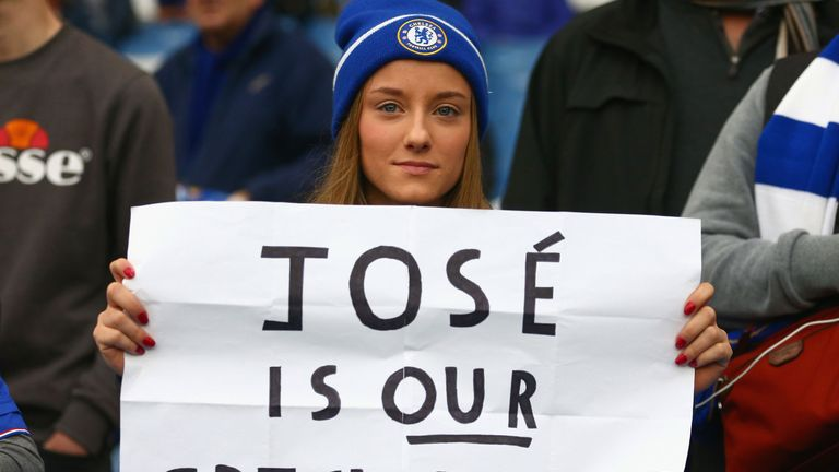 Dozens of banners were unfurled in support for Jose Mourinho