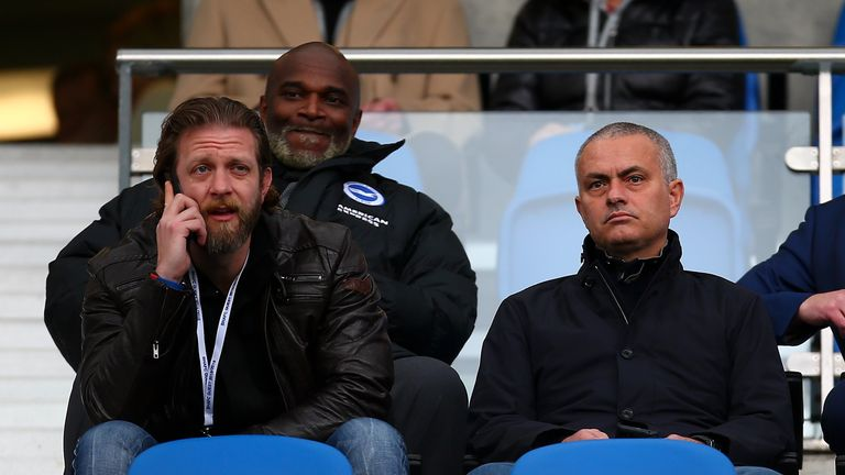 Jose Mourinho took in the top-of-the-table Championship clash at Brighton on Saturday
