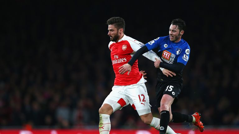 Olivier Giroud of Arsenal and Adam Smith of Bournemouth compete for the ball