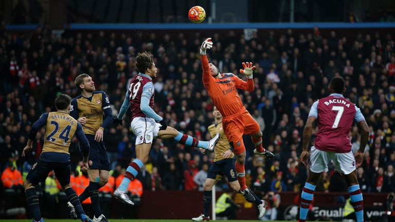 Cech tips the ball to safety against Aston Villa