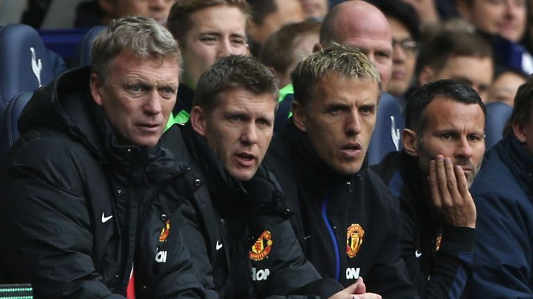 Giggs (right) was part of David Moyes' coaching staff at Manchester United