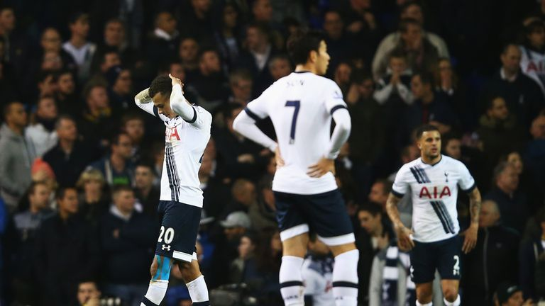 Tottenham's players look on in disbelief after throwing away a 1-0 lead at home to Newcastle