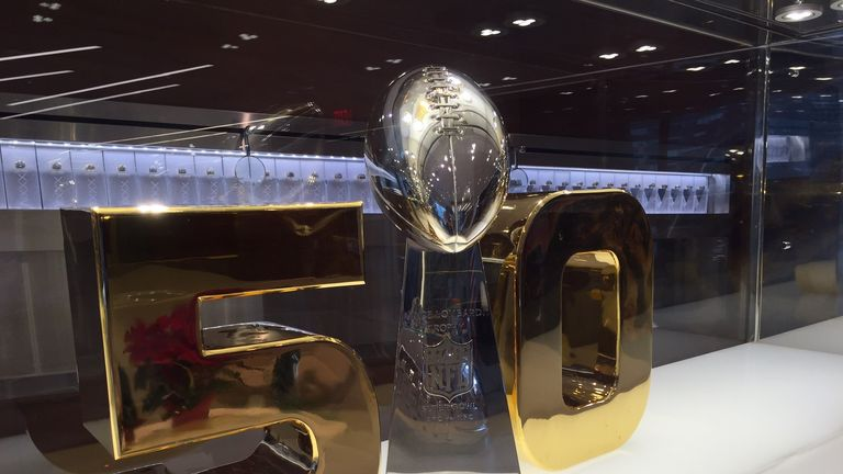 The Vince Lombardi Trophy surrounded by a gold 50