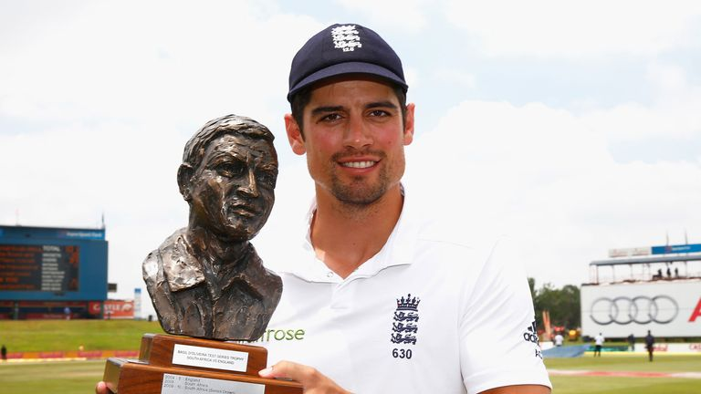 England captain Alastair Cook with the Basil D'Oliveira trophy