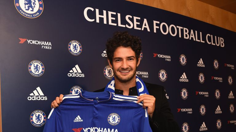 Alexandre Pato poses with his new Chelsea shirt