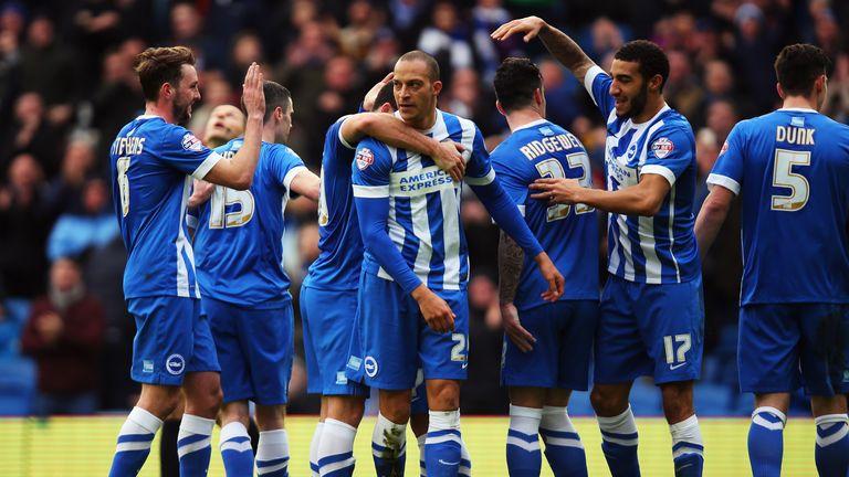Bobby Zamora celebrates after scoring the opening goal for Brighton.