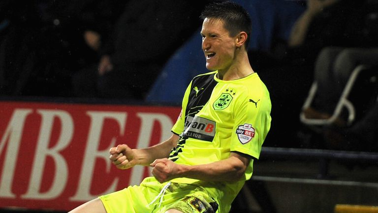 Joe Lolley of Huddersfield celebrates after scoring against Bolton