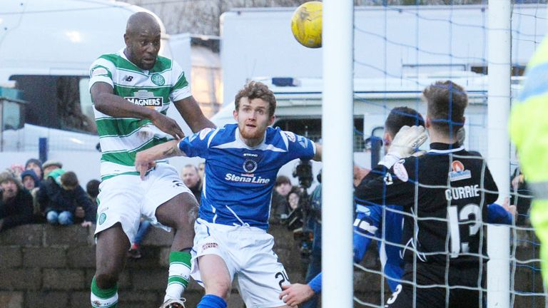 Carlton Cole scores his first goal for Celtic in the Scottish Cup tie at Stranraer
