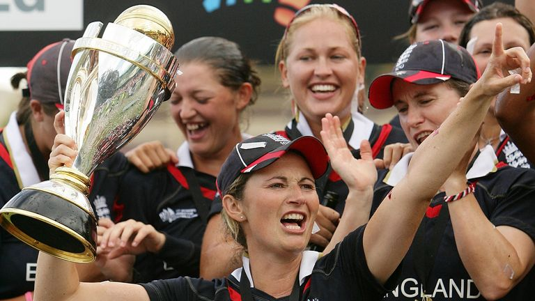 Charlotte Edwards leads the celebrations after captaining England to victory in the 2009 Women's World Cup