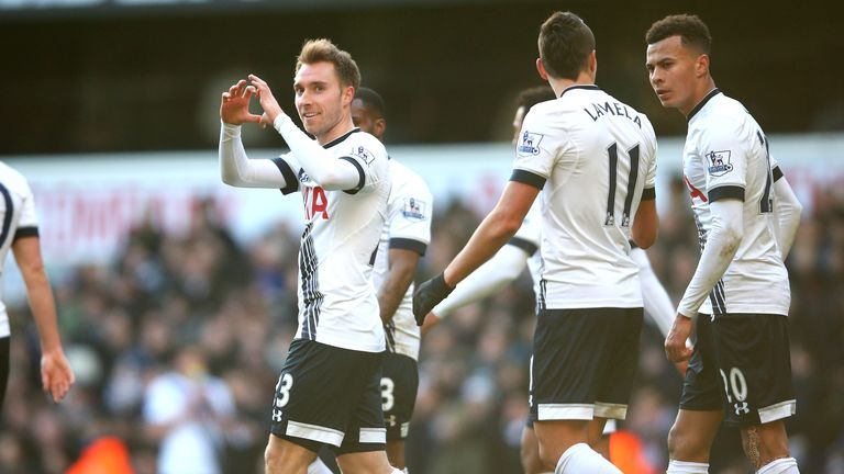 Eriksen was on target twice at White Hart Lane on Saturday
