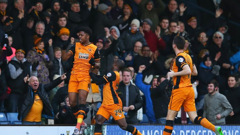 Akpom celebrates scoring his team's first goal