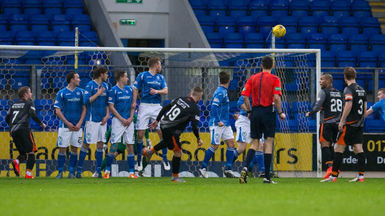 Craig Slater (19) scores for Kilmarnock in their Scottish Cup tie against St Johnstone