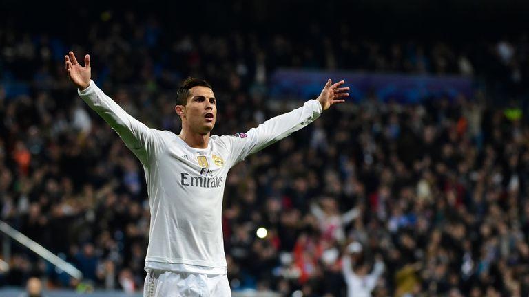 Ronaldo celebrates one of his three goals on Sunday night