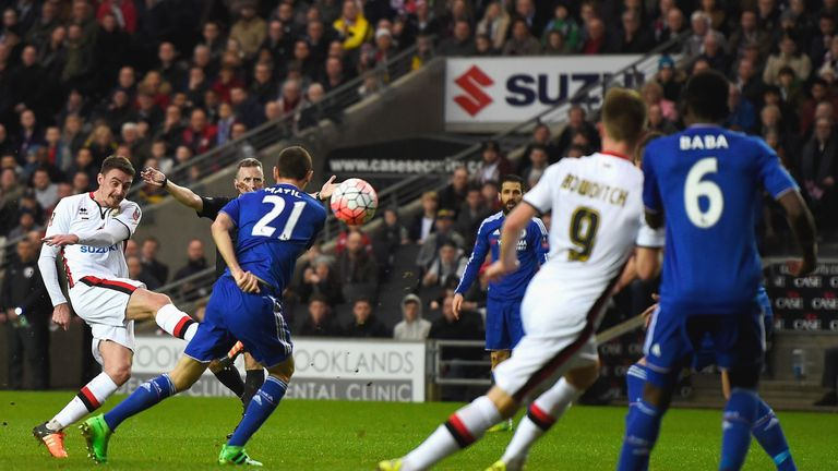 Darren Potter fires an equaliser for MK Dons with the aide of a deflection off Matic
