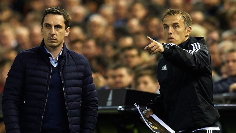 Valencia Gary Neville and his assistant Phil Neville