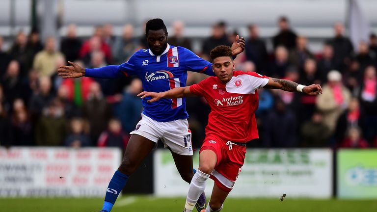 Second-placed Jabo Ibehre (l) fired two goals for Carlisle in December