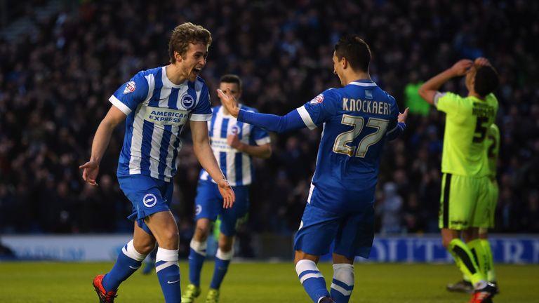 James Wilson celebrates with team-mate Anthony Knockaert