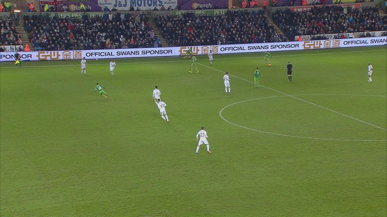 There's a hint of offside from Defoe again but Angel Rangel could be playing him on