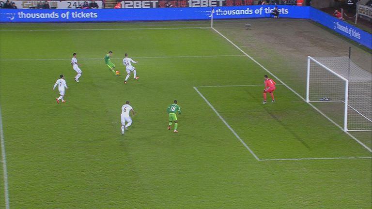 Jermain Defoe appears offside before scoring Sunderland's first goal at Swansea
