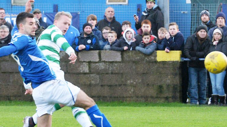 Leigh Griffiths opens the scoring for Celtic in their win at Stranraer