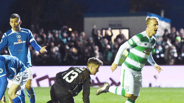 Leigh Griffiths starts his celebrations as Celtic go 3-0 ahead at Stranraer