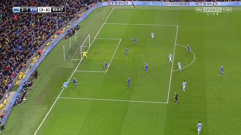 The ball appeared to go out as Raheem Sterling tried to cut it back for Kevin de Bruyne
