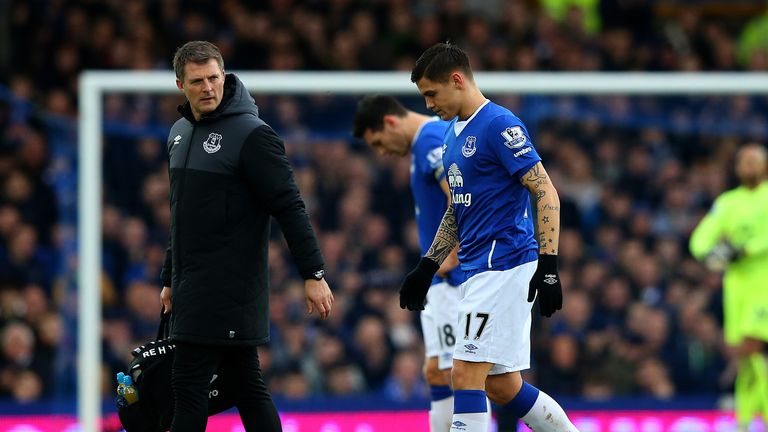Muhamed Besic of Everton leaves the pitch after picking another injury