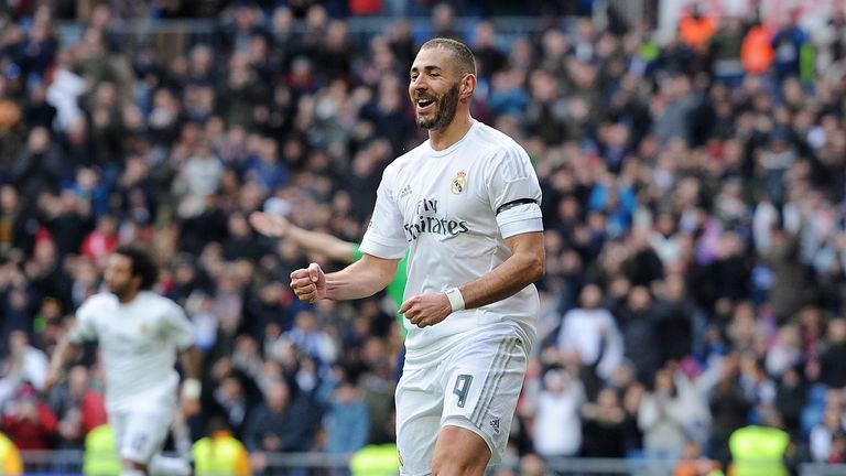 Karim Benzema celebrates after scoring against Sporting