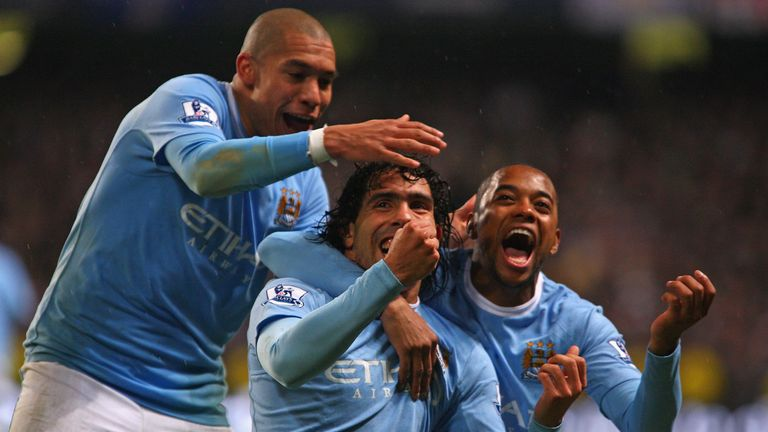 Robinho (R) was the first to arrive at Manchester City after the takeover, but the likes of Carlos Tevez (C) and Nigel De Jong (L) followed