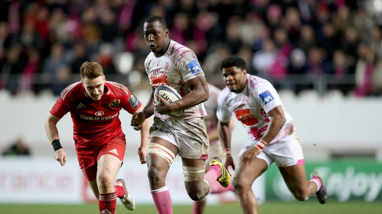 Stade Francais flanker Sekou Macalou scores a scintillating try against Munster