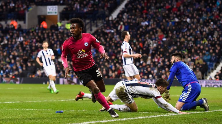 Shaquile Coulthirst scores for Peterborough against West Brom in the FA Cup