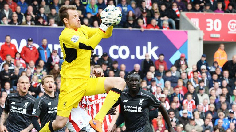 Mignolet claims a cross against Stoke
