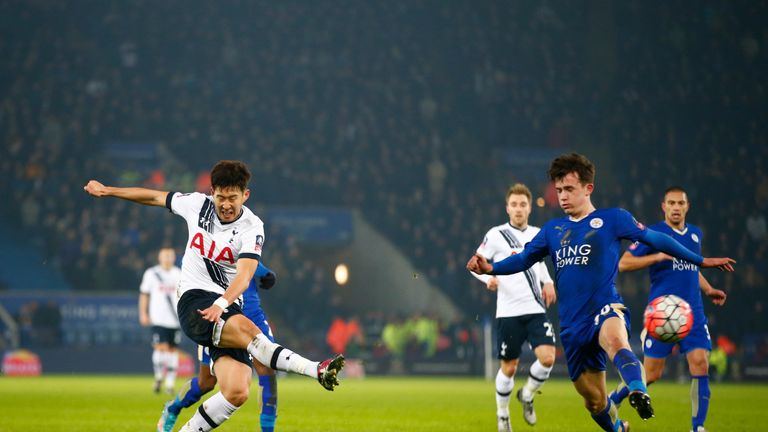 Son Heung-Min scores for Tottenham against Leicester in the FA Cup third-round replay