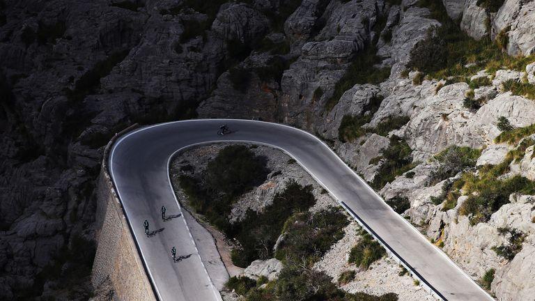 Team Sky's riders tackle the famous climb of Sa Calobra
