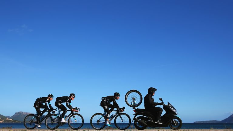Team Sky base themselves in Port d'Alcudia