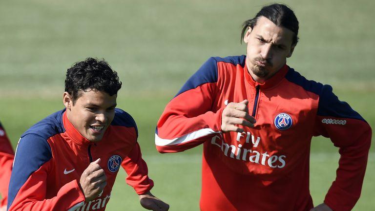 Thiago Silva (left) and Zlatan Ibrahimovic are Paris Saint-Germain team-mates