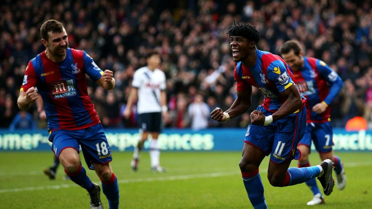 Wilfried Zaha (right) and James McArthur (left) celebrate Crystal Palace's goal