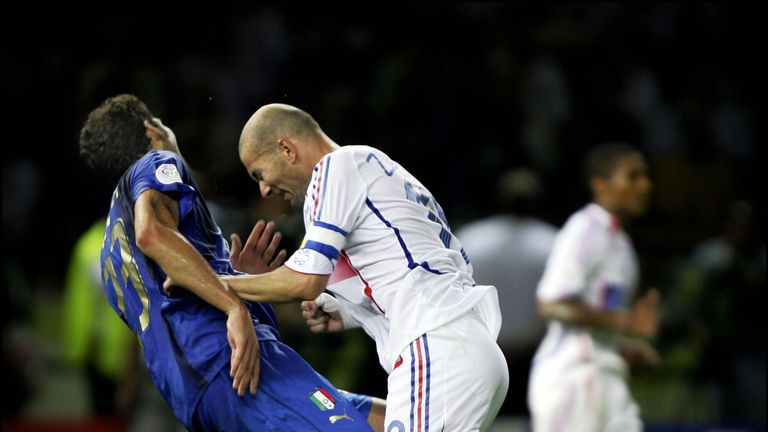 Zidane headbutts Marco Materazzi in the 2006 World Cup final between France and Italy