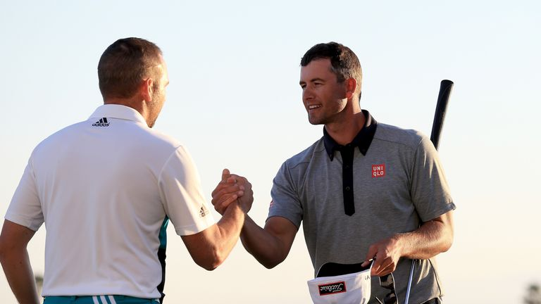 Adam Scott (right) held off the challenge of Sergio Garcia to take the title