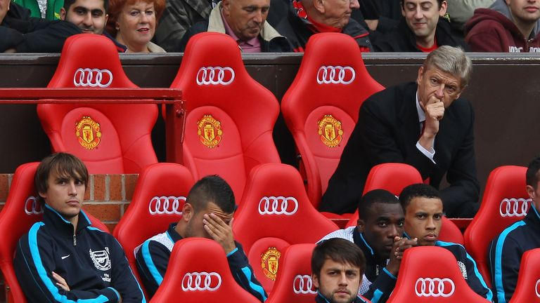 Arsene Wenger could only look on as United ran riot