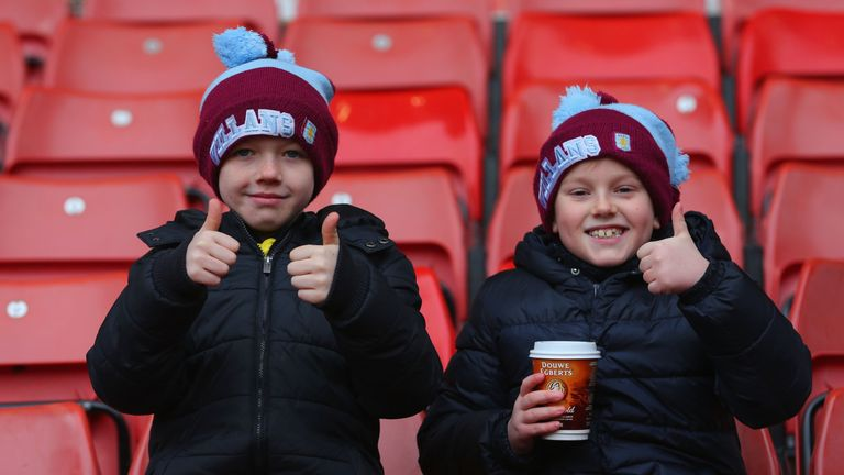 Young Villa supporters look positive prior to the match at the Britannia Stadium