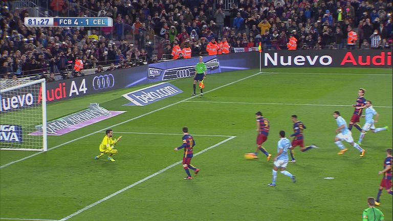 Lionel Messi passed the ball for Luis Suarez to score