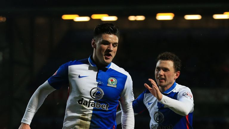 Marshall celebrates his goal for Rovers