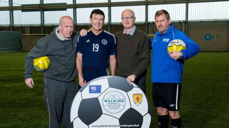 Chic Charnley, Gordon Smith, Archie MacPherson and Ally Dawson at launch of Walking Football Network