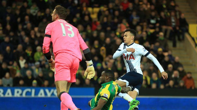 Alli scores Tottenham's early opener against Norwich