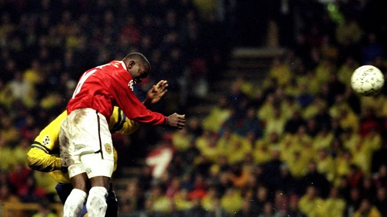 Dwight Yorke was on target as United beat Brondby 6-2 in 1999